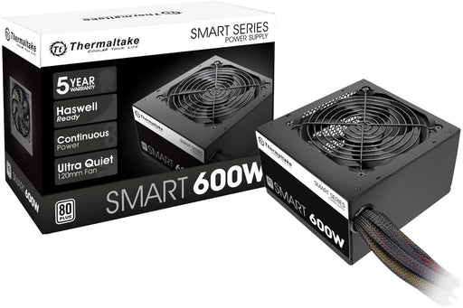Thermaltake Smart Series 600W SLI/CrossFire Ready Continuous Power ATX 12V V2.3 , EPS 12V 80 PLUS Certified, Active PFC Power Supply, Haswell Ready -- 5 Year Thermaltake Warranty