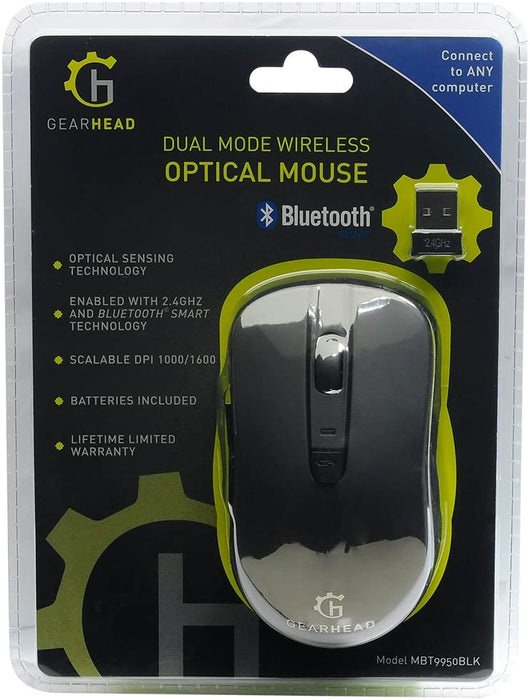 GearHead Dual Mode 2.4GHz Wireless & Bluetooth Optical Mouse - Black -- 30 Day TTE.CA Warranty