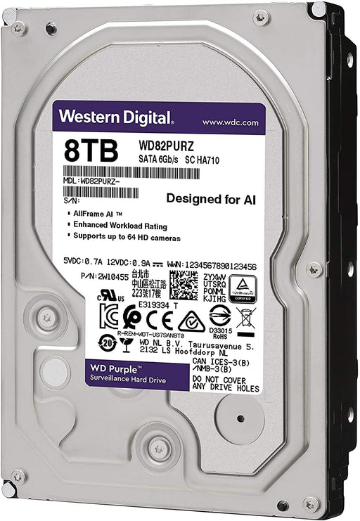 WD Purple 8TB Surveillance Hard Drive, 3.5-inch , SATA 6Gb/s, 256MB Cache, 7200RPM -- 3 Year WD Limited Warranty