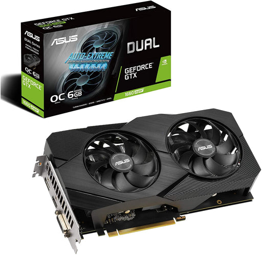 ASUS GeForce GTX 1660 Overclocked 6GB Phoenix Fan Edition, HDMI, DP, DVI Graphics Card, 6GB 192-Bit GDDR5, Core Clock 1500 MHz, Boost Clock OC Mode: 1830 MHz, Gaming Mode: 1800 MHz, 1 x DVI-D 1 x HDMI 2.0b 1 x DisplayPort 1.4, 1408 CUDA Cores, PCI Expr...