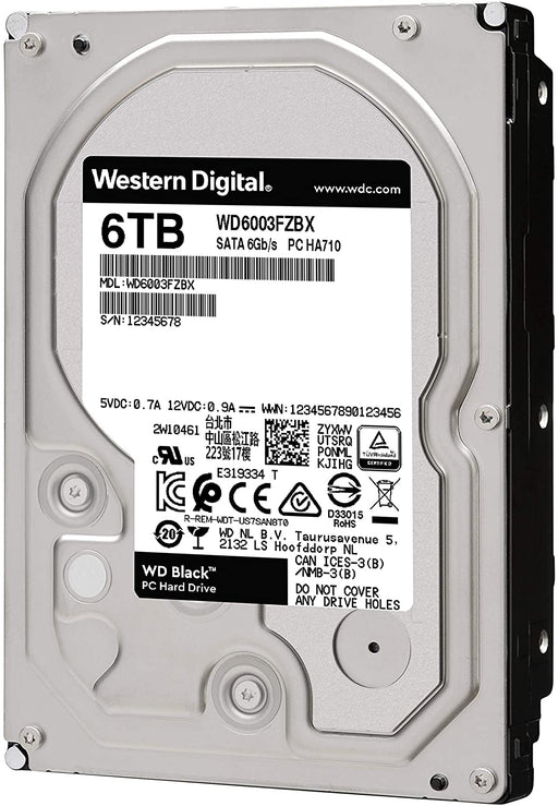 WD Black 6TB Performance Desktop Hard Disk Drive - 7200 RPM SATA 6Gb/s 128MB Cache 3.5 Inch --  5 Year WD Warranty