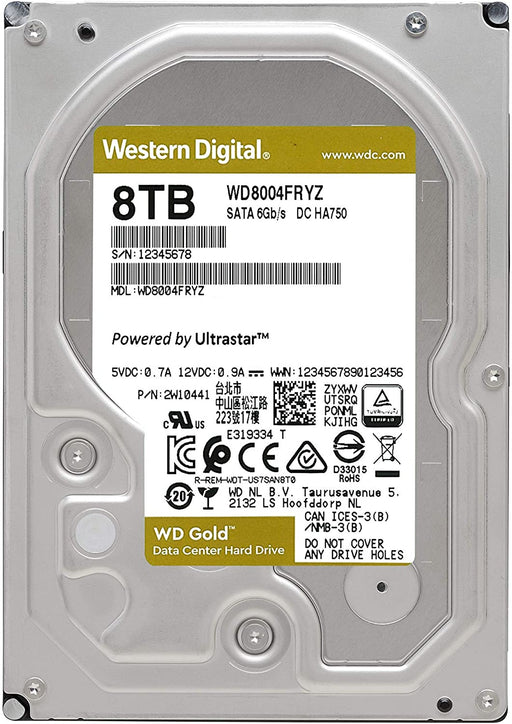 "WD 8Tb Gold Enterprise Class, WD8004FRYZ, 7200Rpm, 3.5"", 256Mb SATA 6Gb/s -- 5 Year WD Warranty"
