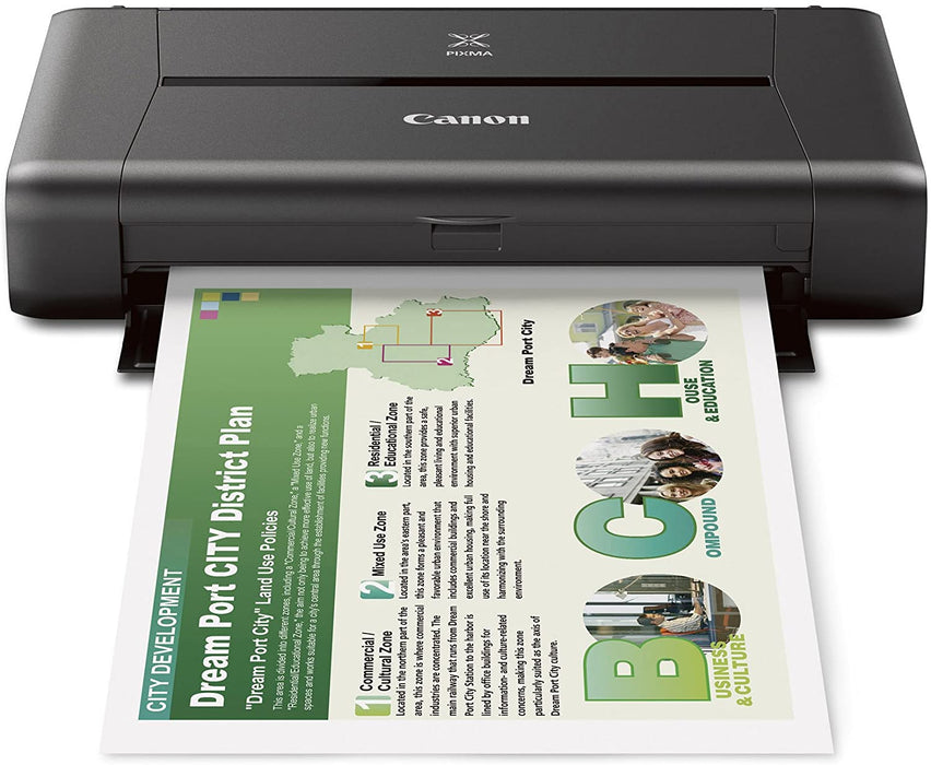 Canon IP110 Mobile printer, 5 colour ink system, 4 x6 inch photo printing. IrDA compatibility. Up to 9600x2400 colour dpi. Wireless connectivity, Airprint, Google Cloudprint. Includes Battery, AC Adapter -- 1 Year Canon Warranty ($5.00 Ontario WEEE Fee...