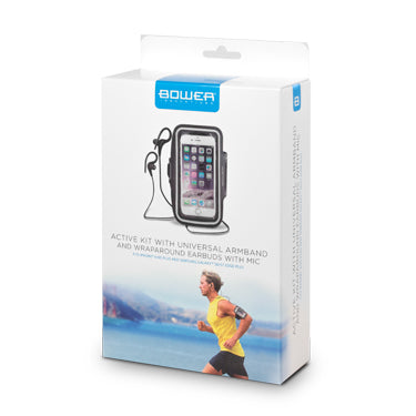 Bower Active Kit Universal Armband and Wraparound Wired Earbuds with Mic - Black Colour -- 30 Day TTE.CA Warranty