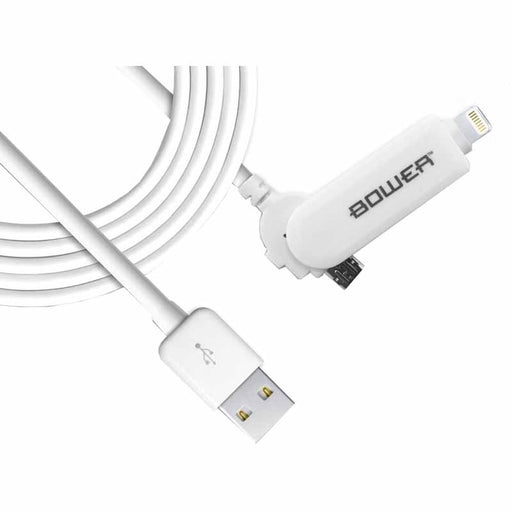 Bower Charge & Sync Cable 3ft MFI Lightning & Micro USB (White Colour)
