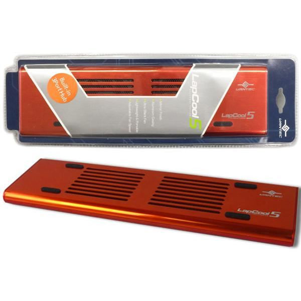 "Vantec ""Lapcool 5"" Aluminum Notebook Cooler with Adjustable Dual Silence Fans & USB Hub - Red -- 30 DAY TTE.CA WARRANTY"