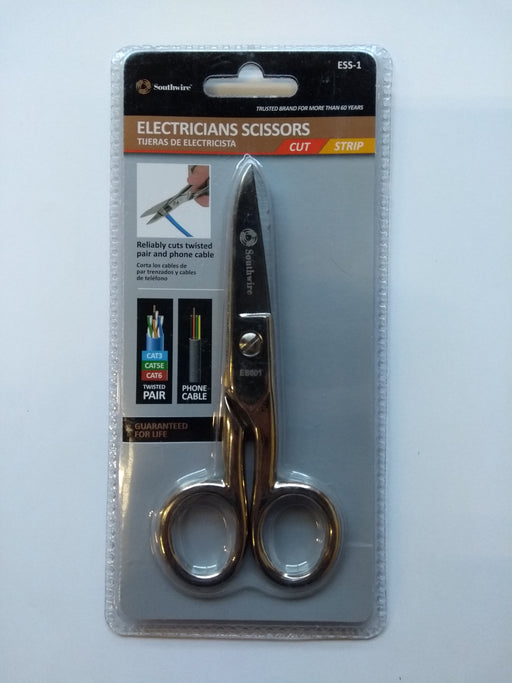 Southwire Electrician's Scissors, Strips 19 AWG & 23 AWG, tempered steel, Nickel-plated finish resists corrosion, Scraper and file on outside of both blades -- 30 Day TTE.CA Warranty