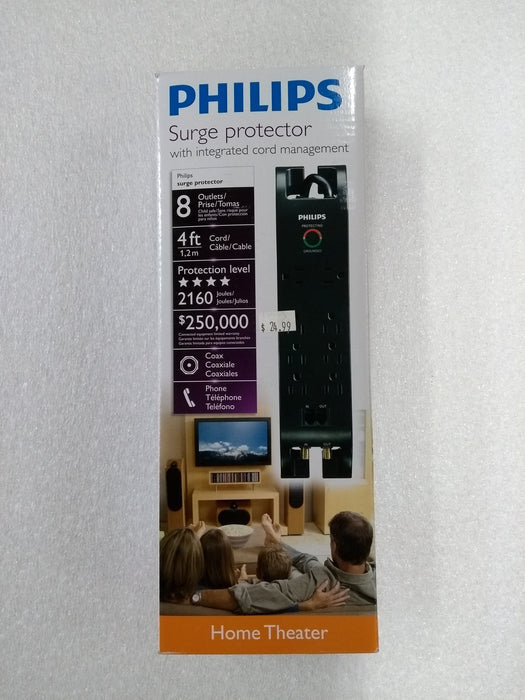 Philips Surge Protector, 8 Outlets, 4 ft. Cord, 2160 Joules -- 30 DAY TTE.CA WARRANTY
