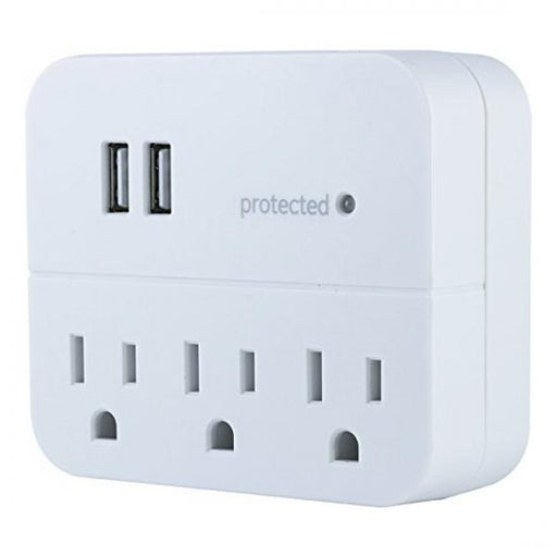GE Wall Tap Surge Protector - 3 Outlets, 2 USB Charging Ports, 560 Joules