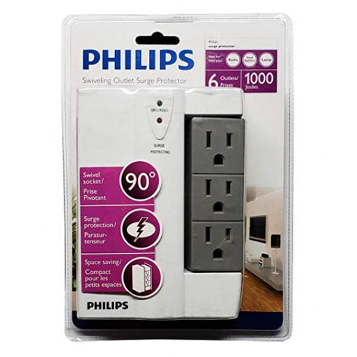 Philips 6 Outlet Swiveling Wall Tap Surge Protector, 1000 Joules