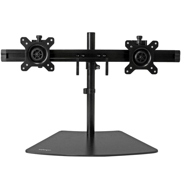 two monitors horizontally with this dual monitor stand - Supports VESA monitors up to 24IN - Low-profile base sits close to the wall - Black finish - Height adjustment along the pole - Tilt - Steel aluminium -- 2 Year StarTech Warranty