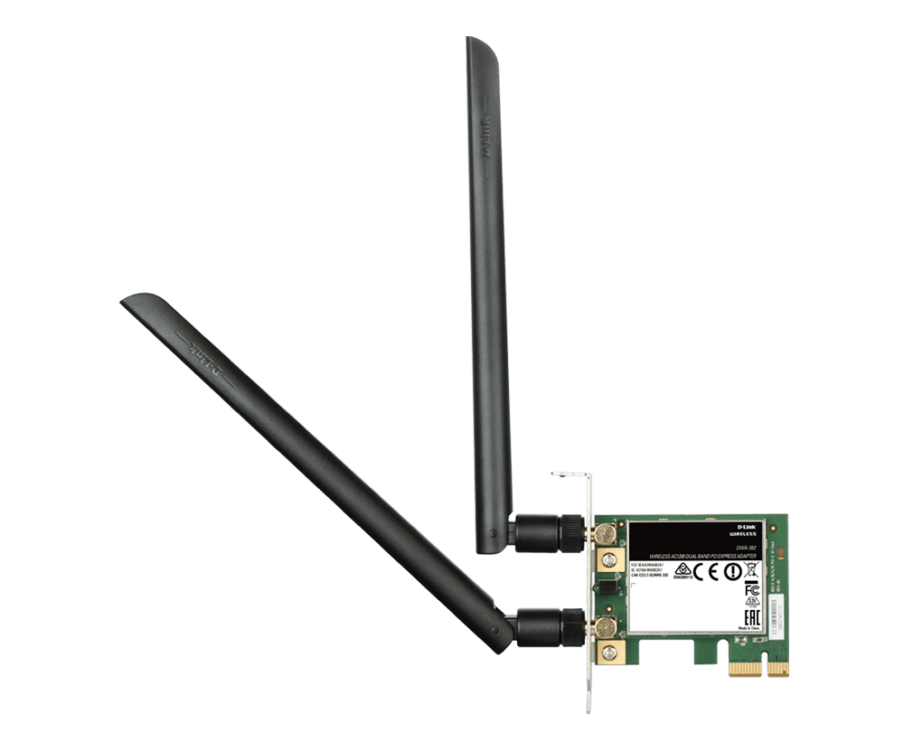 D-Link Wireless AC1200 PCI Express, Adapter Dual Band IEEE 802.11 AC,B,G,N 2.4Ghz, 5.0Ghz, WPA WPA2, Two 4.5 dbi external dipole antennas, .Advanced QoS)  -- D-Link Warranty