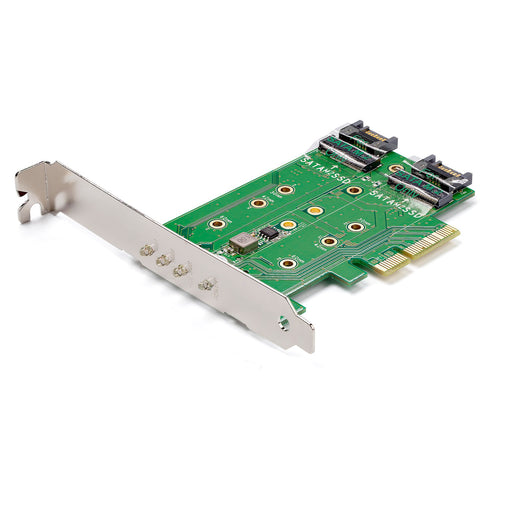 M.2 SSD CARD 1X PCIE (NVME) 2X SATA M.2, Mount both PCIe (NVMe) and SATA based M.2 SSDs,  PCIe 3.0 - PCI Express 3.0 M.2 NGFF -- 2 Year StarTech Warranty