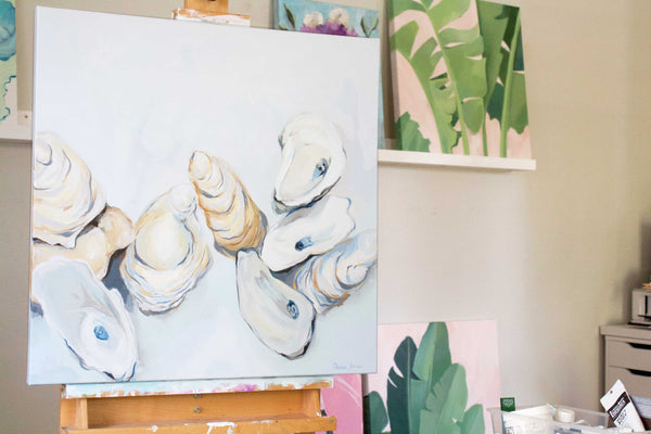 Le Sel oyster painting by beach coastal artist Stephie Jones see also Kim Hovell Chelsea Goer Brynn Casey