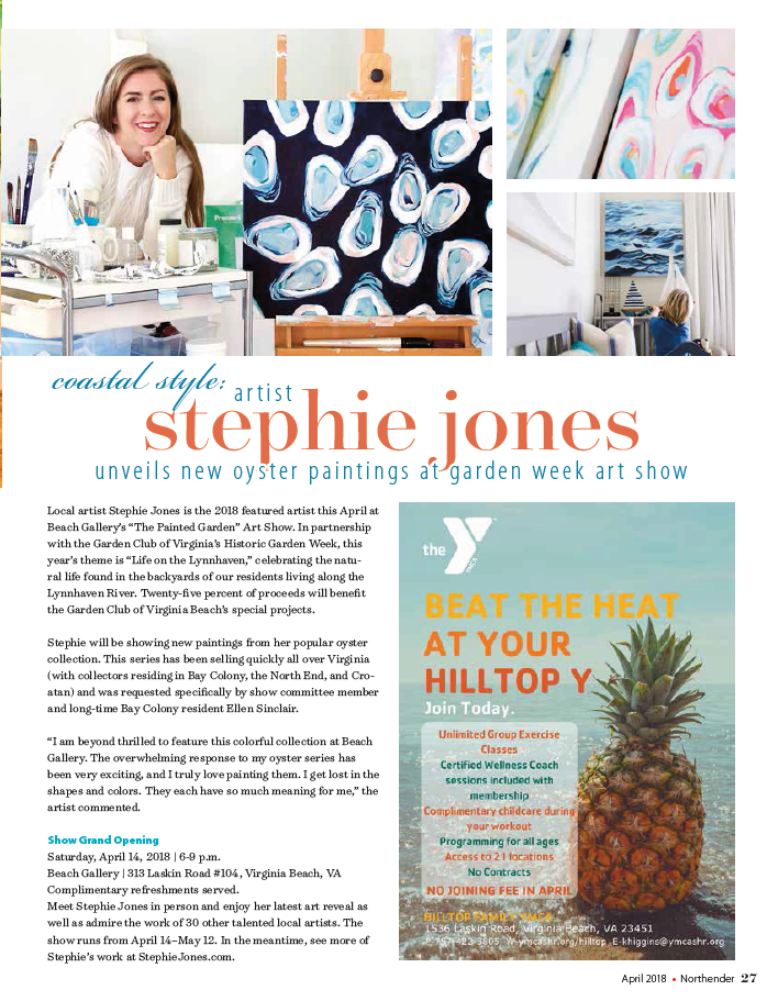 Artist Stephie Jones featured in The Northender Virginia Beach Coastal Style Bay Colony Monica Stein