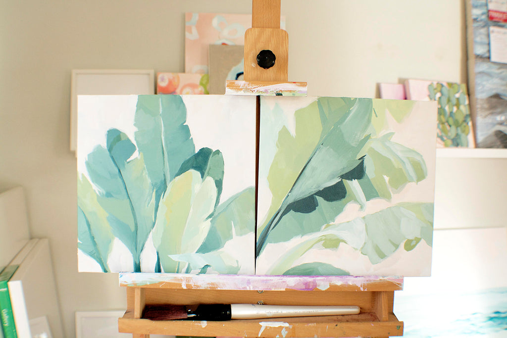 Palm Collection Wall Art Paintings by Virginia Beach Artist Stephie Jones