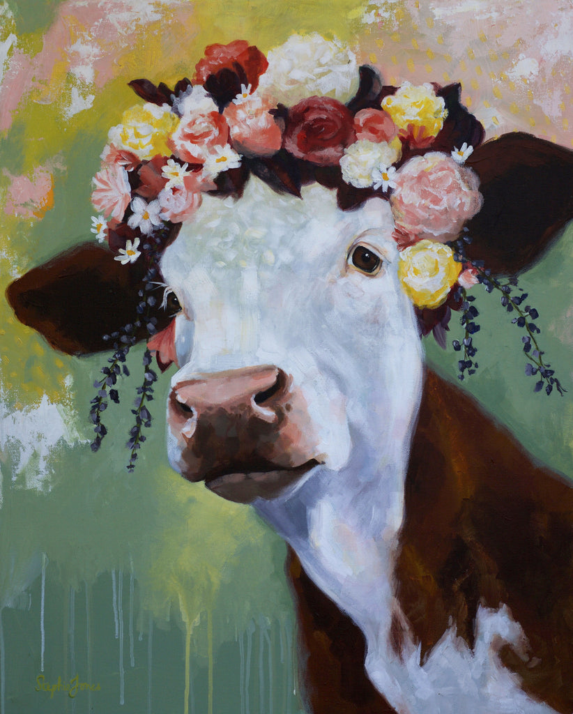 Bovine Divine, Original Paintings painting by Virginia Beach Artist Stephie Jones