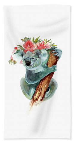 Beach Towel - Coco The Koala painting by Virginia Beach Artist Stephie Jones