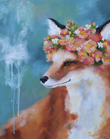 Foxy Loxy, Original Painting painting by Virginia Beach Artist Stephie Jones