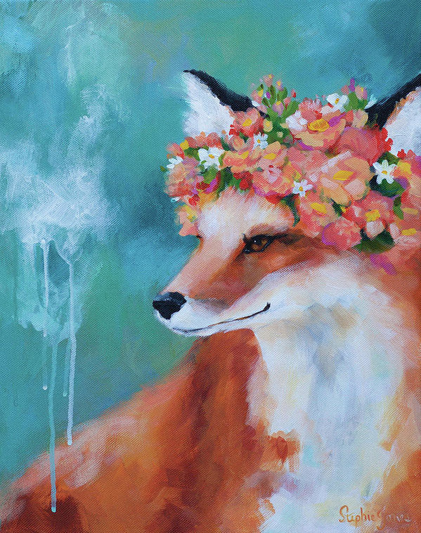 Foxy Loxy, Print painting by Virginia Beach Artist Stephie Jones