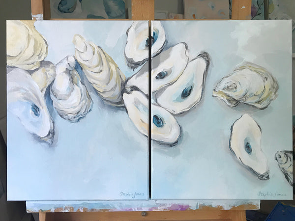 """I Am Yours"" and ""You Are Mine"", Original Paintings Diptych (Set of 2) painting by Virginia Beach Artist Stephie Jones"