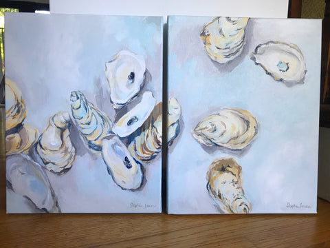 """Make the Time"" and ""Take the Time,"" Original Paintings Diptych (Set of 2) painting by Virginia Beach Artist Stephie Jones"