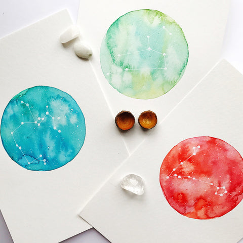 Custom Constellation Petite {set of 3} painting by Virginia Beach Artist Stephie Jones