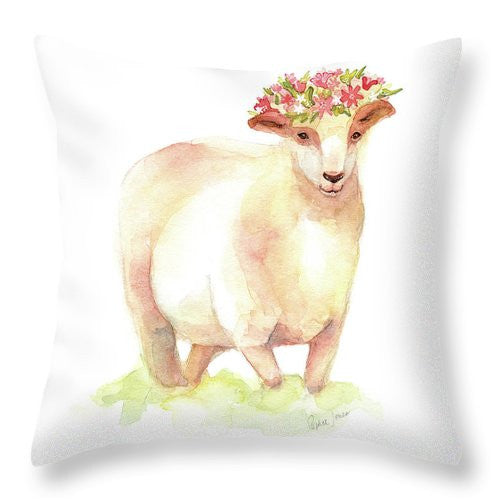 Throw Pillow - Jackie painting by Virginia Beach Artist Stephie Jones
