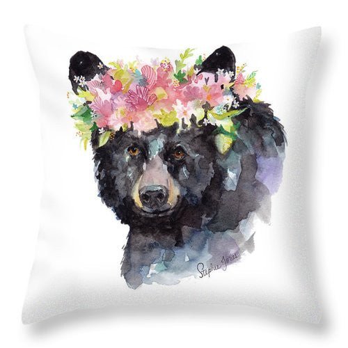 Throw Pillow - Mama Bear painting by Virginia Beach Artist Stephie Jones