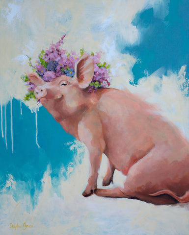 Hog Heaven, Original Painting painting by Virginia Beach Artist Stephie Jones