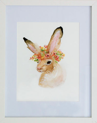 Summer Hare, Floral Crown Rabbit, Digital Print Download painting by Virginia Beach Artist Stephie Jones