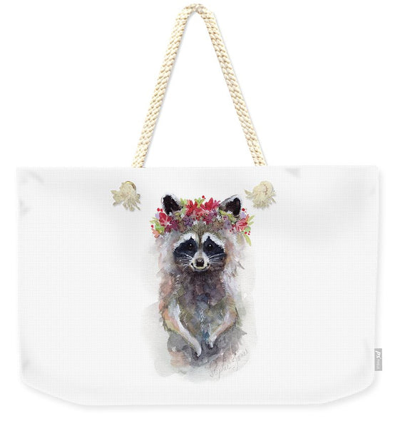 Weekender Tote Bag - Rocky Raccoon painting by Virginia Beach Artist Stephie Jones