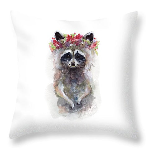 Throw Pillow - Rocky Raccoon painting by Virginia Beach Artist Stephie Jones