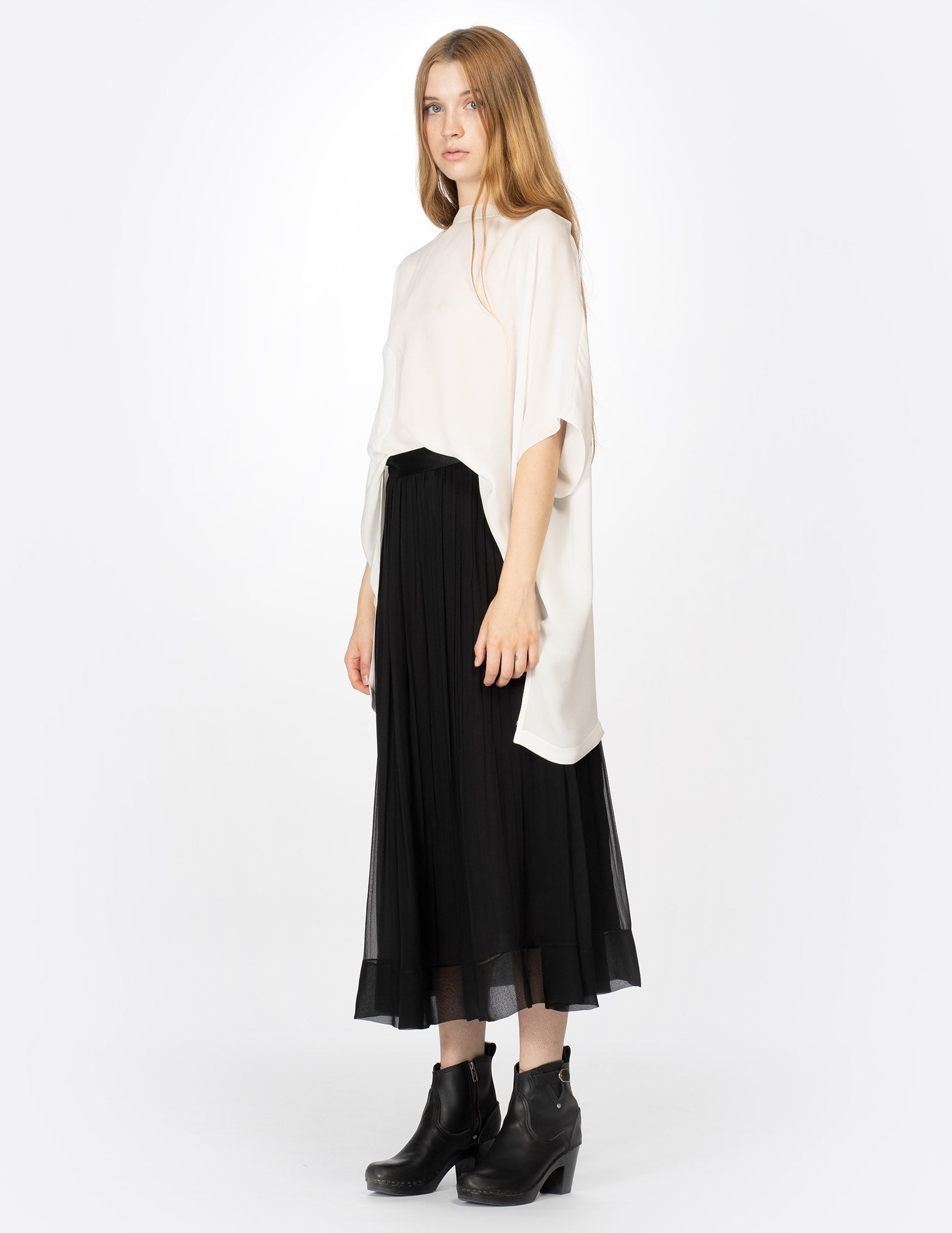 morgane le fay long pleated chiffon skirt with charmeuse waistband.