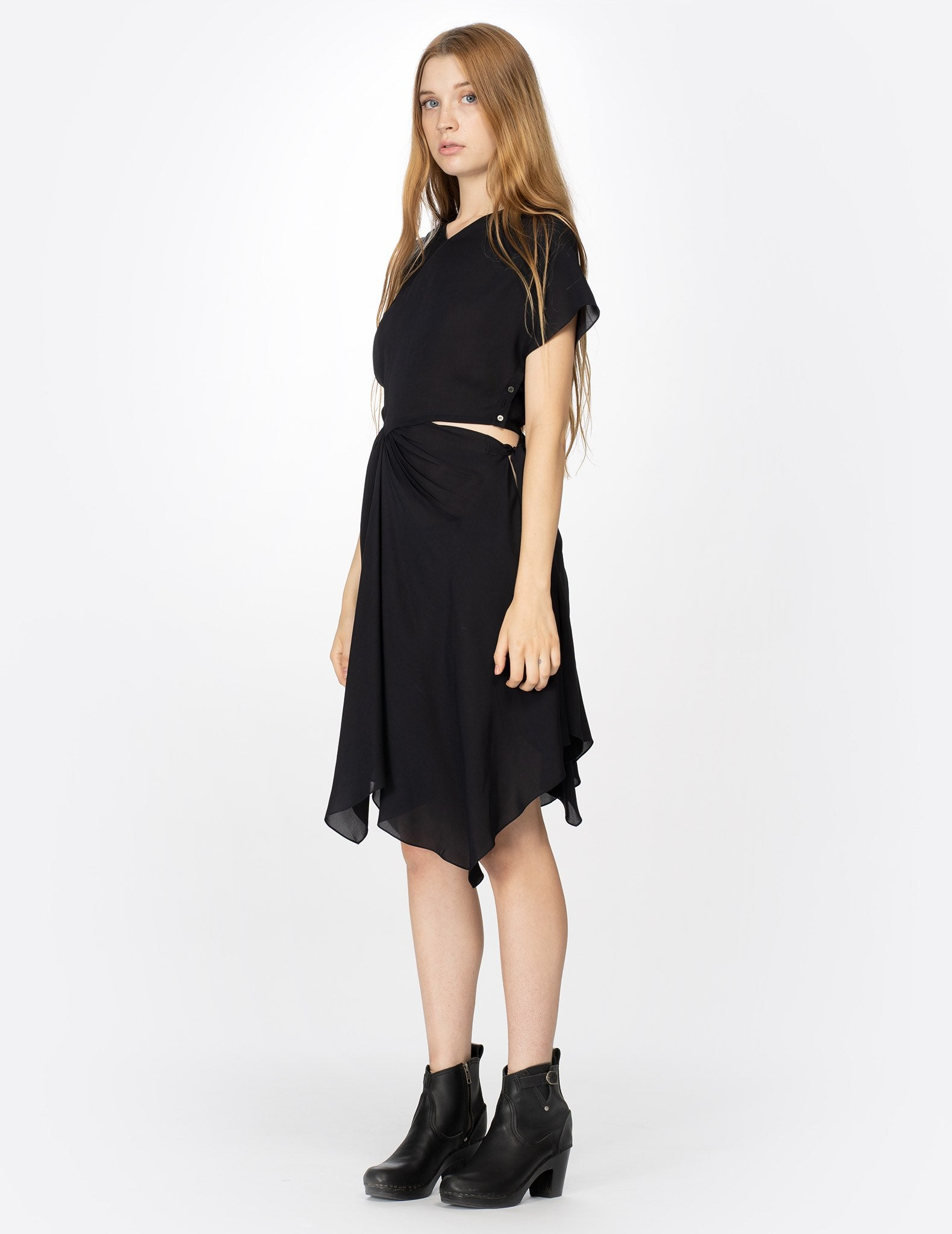 morgane le fay black silk dress