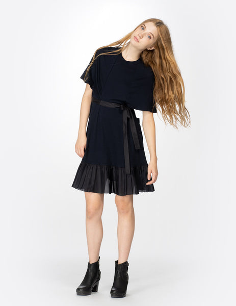 morgane le fay short a-line dress with oversized sleeves and a high neckline. made in new york.