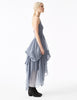 minos silk chiffon long tiered halter dress