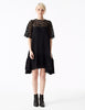 larissa oversized a-line dress with lace top and double georgette gathered skirt