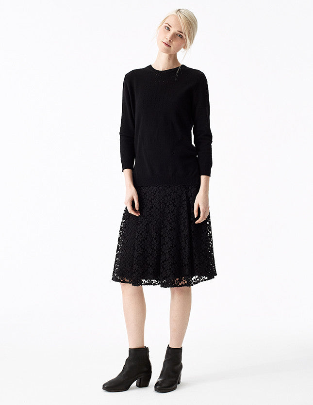 edessa lace skirt with flattering artistic folds and pleats