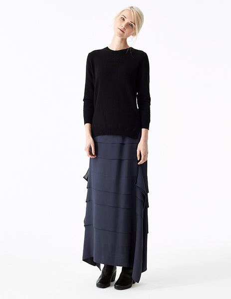 salacia double georgette skirt with horizontal pleats and artful drapes