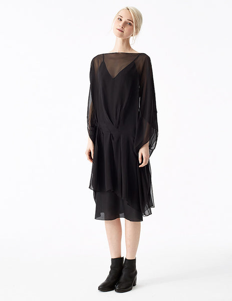 zeno silk chiffon short dress with draping at the front and open armholes