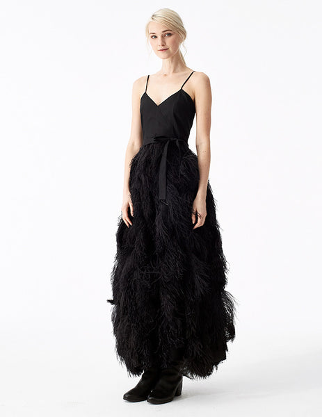circe floor-length gown with spaghetti straps, v-neckline, and full ostrich feather skirt