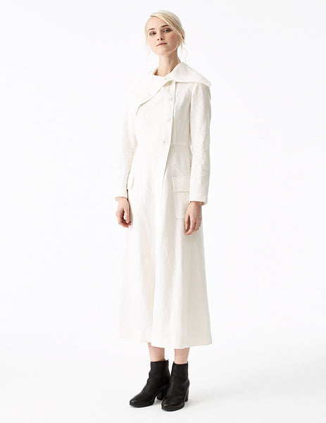 cassandra linen long slim coat with high collar and hidden ties in skirt to create drapery