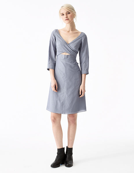 santorini cotton voile a-line wrap dress with cross front neckline, back tie, and 3/4 length sleeves