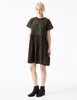 sparta cotton oversized dress with ruffle gathered hem square pocket