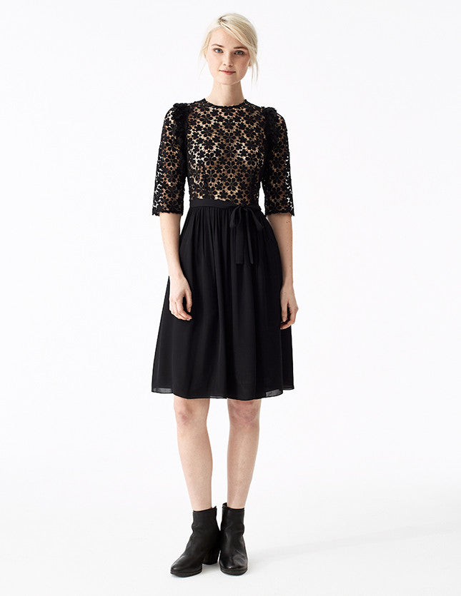 troy black lace short dress with gathered double georgette skirt, fitted lace top, and ruffles at the shoulder