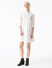 phaedra white cotton a-line button down shirt dress with fitted bodice and pockets