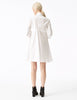 phaedra white cotton a-line button down shirt dress with fitted bodice and pockets back view