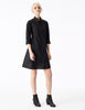 phaedra black cotton a-line button down shirt dress with fitted bodice and pockets