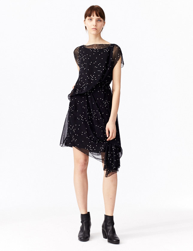 morgane le fay short, silk dress in signature star print with asymmetrical seaming and adjustable ties. made in new york